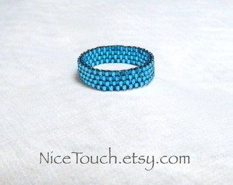SUMMER SALE!!! Free Shipping or Save 20% ~ Icy Blue peyote novelty stackable beaded ring ~ Made to Order