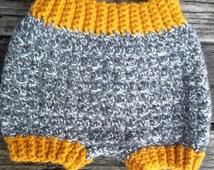 Woolies, Shorties, Wool Baby Soaker, Wool Diaper, Extra Small, Newborn, Mustard, Gray, Grey, Diaper Cover, Photo Prop, Cloth Diapering