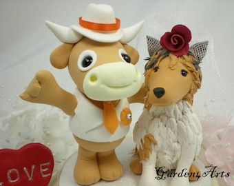 Custom wedding cake topper--Love MASCOT couple with circle clear base--Texas and A&M--NEW
