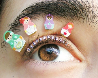 Matryoshka Eyelash Jewelry - false eyelashes with Russian nesting dolls