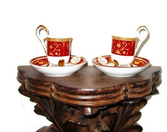 Miniature Footed Teacups with Gold Trim - Very Unusual Urn Shaped