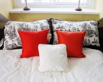 Pair Jim Thompson Silk Cushion Covers - Saffron Orange 100% Thai Silk