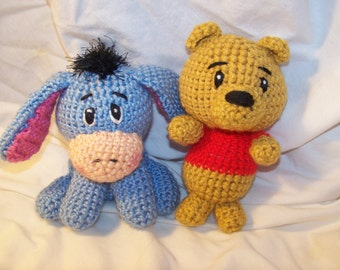 Crochet Winnie The Pooh and Eeyore friends rattle toys