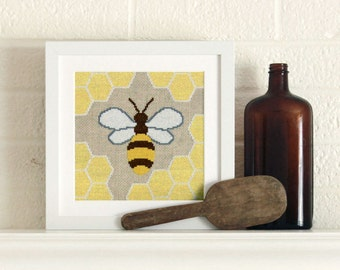 honey bee cross stitch kit - on linen aida - diy - modern - contemporary