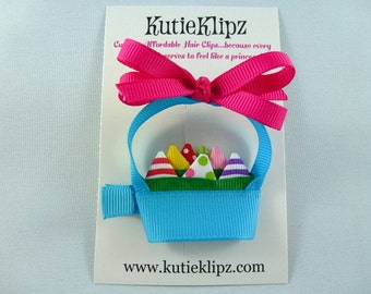SALE - NEW Easter Basket Ribbon Sculpture Hair Clip...Hairclip, Hair Bow, Clippie, Accessory