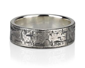 Rough plaster texture  -mens ring