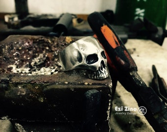 Ezi Zino Handmade Armour Collection Skull Solid Sterling Silver 925 Ring