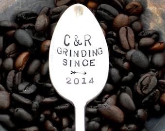 GRINDING SINCE™ Coffee Lovers Anniversary Wedding Honeymoon Gift -  Personalized CUSTOM The Original Hand Stamped Vintage Coffee Spoons