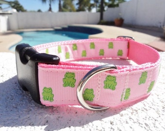 "Sale Dog Collar 1"" wide Side Release or Martingale collar Little Green Frogs"