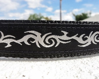 """Dog Collar Tribal Silver 1"""" wide Side Release buckle or Martingale collar style adjustable - details & sizing guide within"""