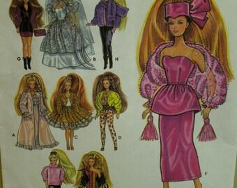 "Barbie Party Dresses Pattern, Evening Gown, Nightgown, Jacket, Leggings, Sweater, Bride Dress, Simplicity No. 7952 UNCUT Size 11.5"" (29cm)"