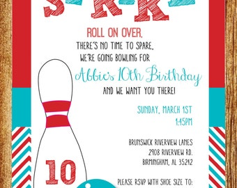 Red and Turquoise Bowling Birthday Party Invitation; Custom Digital Bowling Birthday Party Invitation