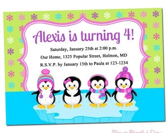 PRINTABLE Girl Penguins Party Invitation #708