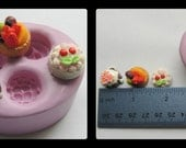 Scale Dollhouse Miniature Cakes Dessert Polymer Clay Resin Silicone Mold