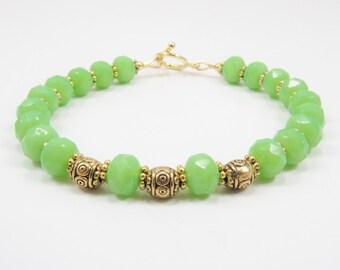 Czech Glass Bracelet, Beaded Bracelet, Chic Jewelry, Summer Jewelry, Lime Green Jewelry, Women's Jewelry, 8 1/4 inches