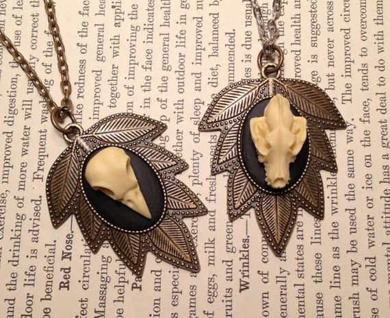 BRASS OPTION - Large Leaf Style Pendant Necklace With Replica Wolf or Crow Skull