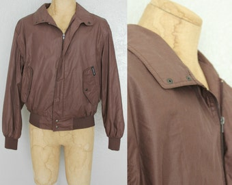 1980's Men's Members Only Jacket in Chocolate Brown Sz 44