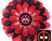Deadpool Penny Blossom Sparkly Red and Black Flower Barrette