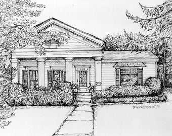 House Portraits in Pen&Ink and Watercolor,Your Home hand-painted,Custom Commission,House Rendering,Architectural Drawing,Personalized Gift