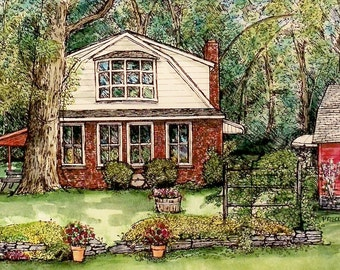 Watercolor House Portrait Custom Home Portraits in Pen&Ink and Watercolor,Family Keepsake,Personalized Gift,by artist Patty Fleckenstein