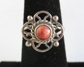 925 Sterling Silver & Goldstone Ring - Vintage, Small, Nice Cutout Design