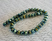 Forest Green AB Crystals Bead Strand