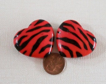Heart Two Large Red Zebra Striped Lucite Beads