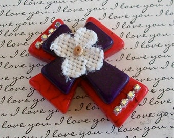 Large Stacked Red Stone Cross with Purple Stone Cross, Burlap Flower and Bling