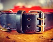 Wide Leather Dog Collar -  Large Dog Collar - Dog Collar for Big Dogs - 2 inch Wide Dog Collar - Extra Wide Black and Red Leather Collar