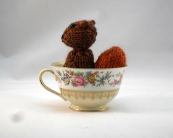 Hand Knit Squirrel. Brown Squirrel Toy. Squirrel Stuffie. Woodland Plushie. Pretend Play. Pocket Pal. Ready To Ship. Gifts Under 10.