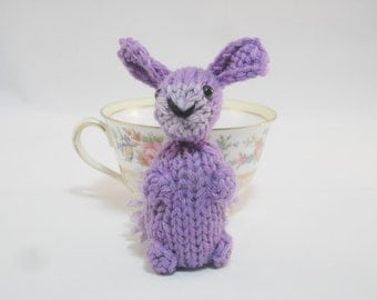 Hand Knit Bunny Purple Ready To Ship