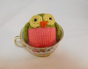 Hand Knit Owl. Olive Green and Pink Owl. Woodland Plushie. Pretend Play. Owl Stuffie. Basket Stuffer. Ready To Ship. Gifts Under 10