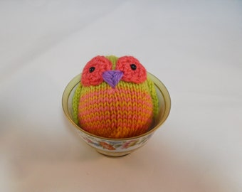 Hand Knit Owl. Lime and Coral Striped Owl. Woodland Plush. Pretend Play. Stuffed Owl. Basket Stuffer. Ready To Ship. Gifts Under 10