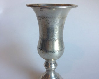 Antique sterling silver goblet with incised design