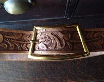 Vintage tooled cowhide belt