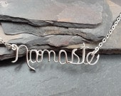 Sterling Silver Namaste Necklace, or Personalized Name or Word, Custom Made