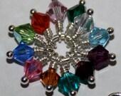 Custom Charm-Birthstone Add On Charm-4mm Swarovski Crystal Bicone-Sterling Silver and Crystal Charm-Add A Birthday Charm-Jewelry Making