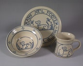 3 Piece Personalized Child's Birth Plate  and mug and bowl set .Baby Gift - Puppy Dog Design on Stoneware