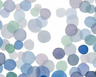 Blue Bubbles Watercolor Painting - Minimal Abstract Indigo blue Green Circles Splash Modern Wall Art