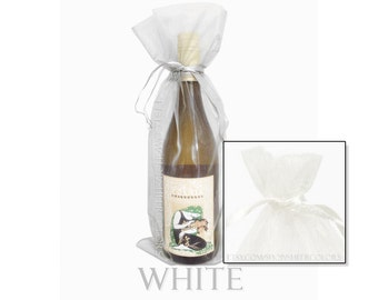 Set of 10 White Organza Wine Bottle Bags, 6.5 x 15 Inches