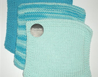 Cotton Wash Cloth Hand Knit set of 3 -Pool Side