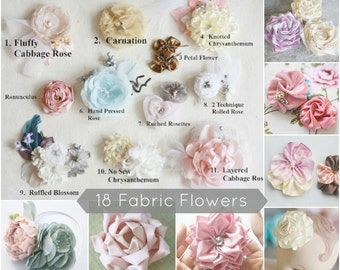 18 Fabric Flower Tutorials, Fabric Flower Patterns, Flower Sewing Patterns, PDF Patterns & Tutorials, Ribbon Flower Tutorial, Sewing Pattern