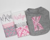 Personalized Baby Girl set INCLUDES Bib and 2 Burp Cloths - Pink and Gray