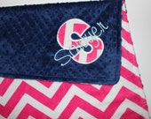 Personalized PINK CHEVRON MINKY Baby Blanket or Lovey with Midnight Navy Blue Dot Minky