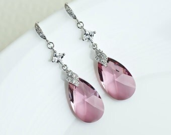 Antique Pink Swarovski Crystal Earrings, Pink Crystal Dangle Earrings, Antique Pink Swarovski Crystal and Cubic Zirconia Long Dangle Earring