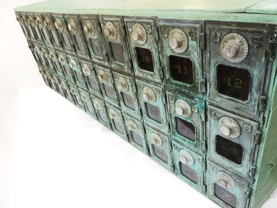 Vintage Post Office Box Mail Sorter Cabinet W Brass Verdigris
