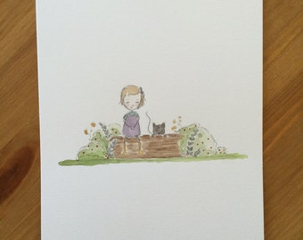 6x9 watercolor of little girl and cat