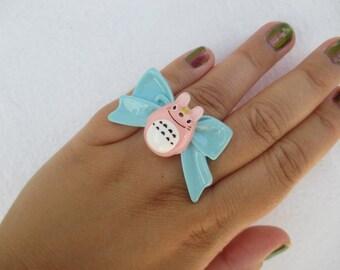 TOTORO Bow Ring - PINK My Neigbor Totoro - Hayao Miyazaki - Kawaii Fairy Kei