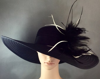 Black Funeral Hat, Kentucky Derby Hat, Church Hat, Dress Hat, Tea Party Hat
