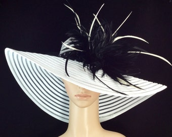 White Kentucky Derby Hat with Feather and Polka Dot hat band,Fascinator,Dress Hat, Wide Brim Hat ,Wedding Hat,Tea Party Hat ,Ascot hat